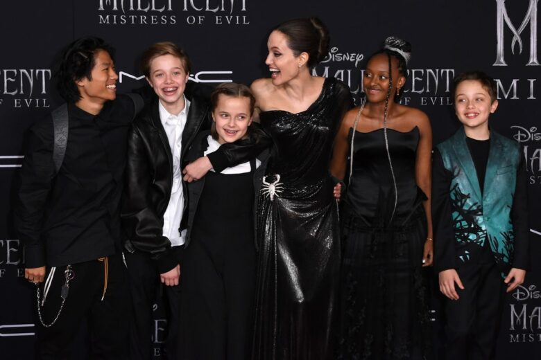 angelina with her children